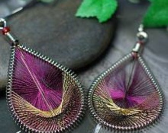 Earrings Peacock tail purple