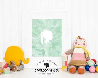 Children's Silhouette/Watercolor Background Printable; Children's Wall Art; Nursery Wall Art