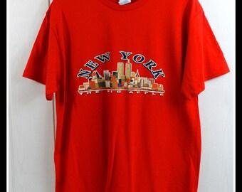 new york big apple t shirt tshirt t-shirt tee usa america medium m
