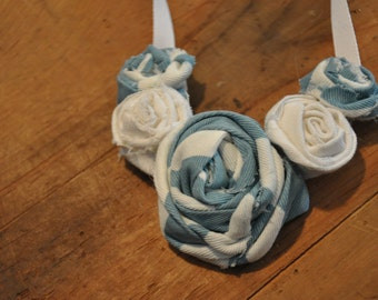 Turquoise and white fabric flower necklace, FREE SHIPPING
