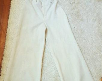 Vintage 80s 90s Wide Leg White Bell Bottom High Waist Pants