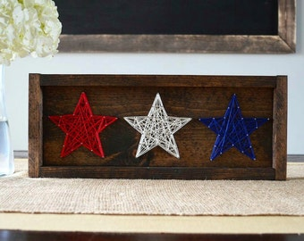 American Red, White, and Blue Stars String Art Home Decor Fourth of July Decor Patriotic Decor