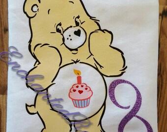 Care Bear Birthday Shirt, Birthday Bear, Kids Birthday shirt, cupcake