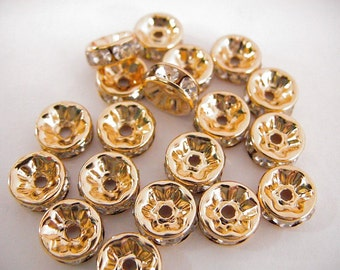 10mm Gold Filled Rhinestone Spacer Roundel, GF5061