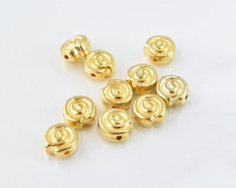 10mm Swirl Gold Plated Beads,10pcs/PK, Double hole opening, 5mm Bead Thickness, 15grams/pk, 1mm hole