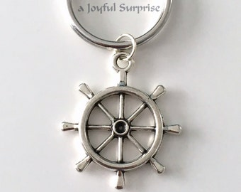 Ship Wheel Keychain, Rutter Key Chain, Helm Keyring, Nautical Gift for Sailor Helm Key Chain, Silver Boater Boat Men Women Marine Dad uncle