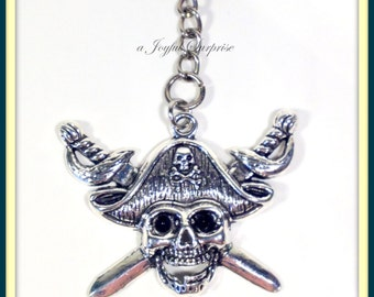 Pirate Keychain, Skull Key Chain, Skull and Sword Keyring Present Skeleton Masculine Jewelry, Gift for Man, Large Pewter charm bone boy him