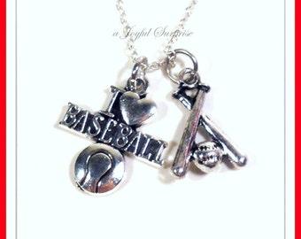 Baseball Necklace, Silver Baseball Jewelry, I love Baseball Charm Necklace, Baseball and Bats, Base ball, Gift for Baseball Player Gift  115