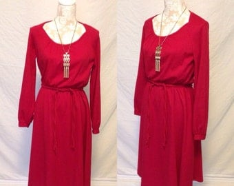 1970's Women's Dress in Red with Braided Belt - 70's woman's dress - disco dress - long sleeved dress
