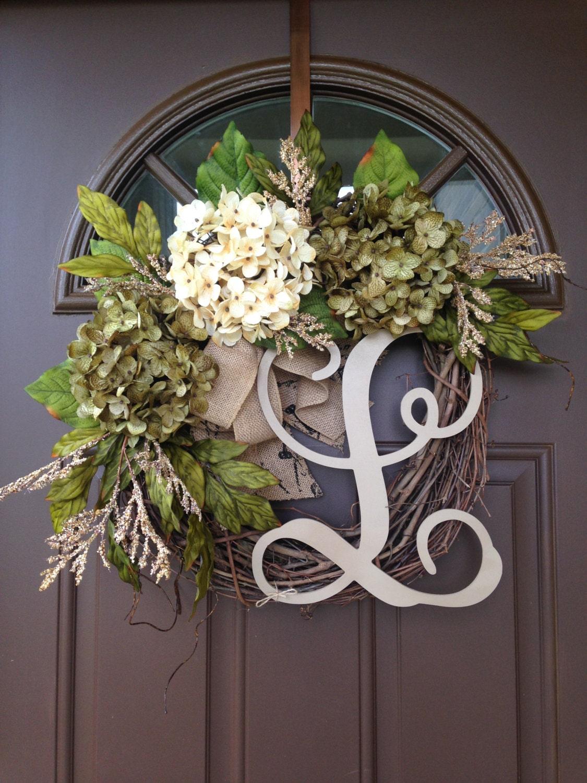 Year Round Hydrangea Wreath For Front Door Monogrammed