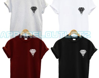 dripping diamond pocket logo t shirt blood ufo swag dope hipster trend fashion new tumblr spaceship hashtag hipster gift funny unisex