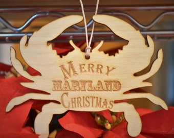 Maryland Blue Crab Christmas Ornament