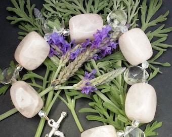 Pink Quartz with Swarovski Crystal and Tear Drop Beads Bracelet