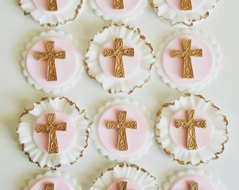 12 x holy communion fondant cupcake toppers - available in colours of your choice