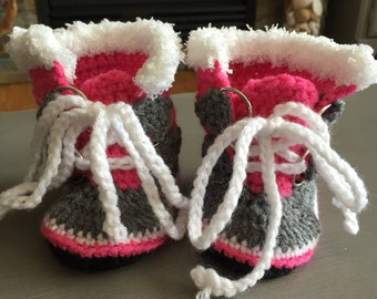 Sorel style crocheted slippers.