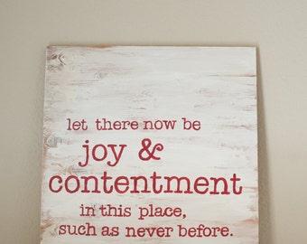 Joy & Contentment (rustic wood, square wall art)