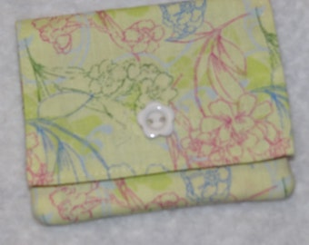 Light green fabric credit card holder and cash wallet