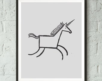 Black and White, Nursery Print, Unicorn, Animal Print