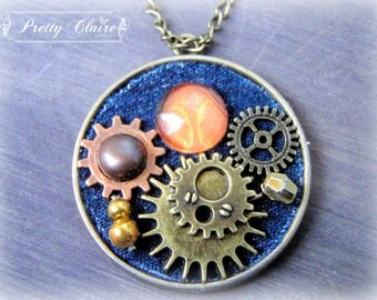 Steampunk jeans necklace, steampunk pendant, unique jewelry, handmade pendant, steampunk jewelry