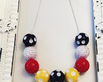 Mickey mouse chunky bead necklace, Mickey Mouse inspired necklace, Mickey Mouse, chunky beads, chunky bead necklace, girls necklace