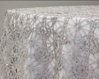 Silver Or Gold And Sequence Chain Lace Table Overlay, Lace Tablecloth,  Wedding
