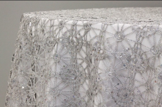 sale silver or gold and sequence chain lace table overlay