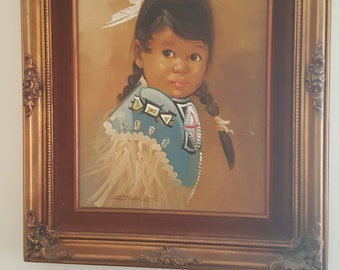 Young indian girl painting