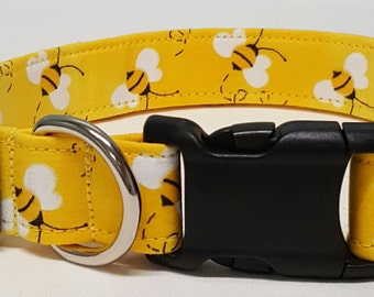 dog collar, bumble bees, bees, busy bees, busy bee dog collar