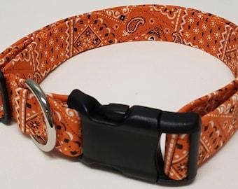 Dog Collar, Orange Bandana, bandana dog collar, bandana