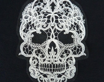 Lace-work Embroidered Skull Large Sew-on Floating Patch or Applique