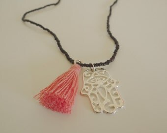 Hamsa and Tassel Necklace