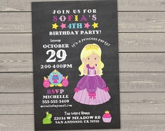 princess birthday invitation, printable kids birthday party invitation for girls