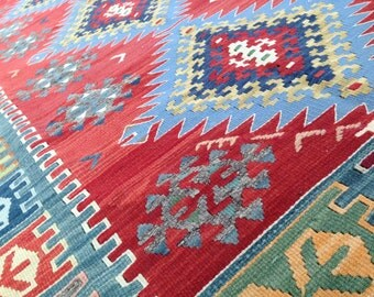 """SALE! KilimRug,Anatolian, Vintage,NaturalDyes,4'2""""x7'6"""",Ready to Use,Fast FREE Shipping in USA,Bohemian Style Home Decor,Colorful,Wool,Love"""