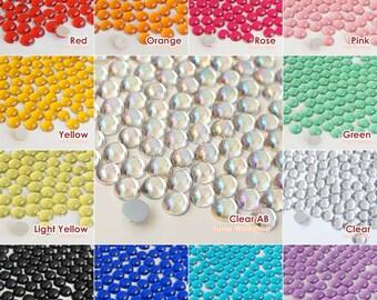 13 Colors Dome Hemisphere Acrylic Flatback Rhinestones Cabochons Scrapbooking Nail Craft 3/4/5/8/10/12mm - 45pcs per Pack
