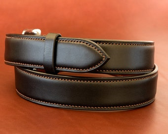 Hand made and stitched leather Belt