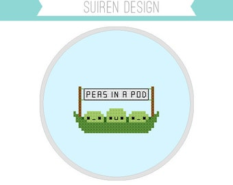 Peas In A Pod Cross Stitch PDF Digital Download