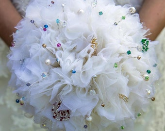 Fabric Bridal Wedding Bouquet in Ivory with Multicoloured Beaded Stamen, Czech Crystals and freshwater Pearls DEPOSIT UK Handmade