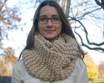 Oatmeal 100% Wool Knit Circle Scarf