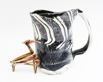 Dramatic Distorted Funky  Primitive Wonky Looking 13 oz Coffee Mug,, Asymmetrical, Black Grey White,  Stoneware, Zebra Striped