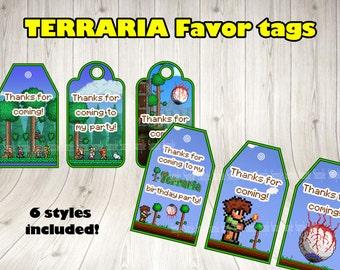 TERRARIA FAVOR TAGS. Terraria party tag.Terraria printable.Terraria birthday .Terraria thank you tags.Terraria decoration.terraria supplies