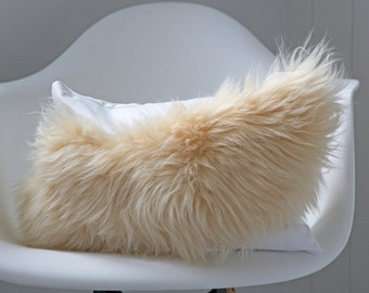 Coral cushion - Orange sheepskin cushion, fur pillow, leather cushion, home gifts, coral pillow, orange cushion, orange pillow, boho decor