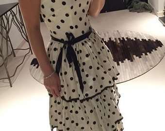 Lovely black and white 1950s polka dot tiered dress  XS