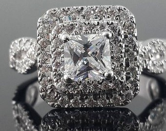 10k white gold princess double halo twisted solitaire engagement ring Cz