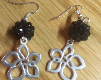 Up cycled Crystal and flower drop earings