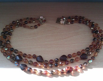 Vintage Amber Coloured Glass Bead Necklace