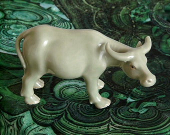 Celadon porcelain bull / cow chinese figurine