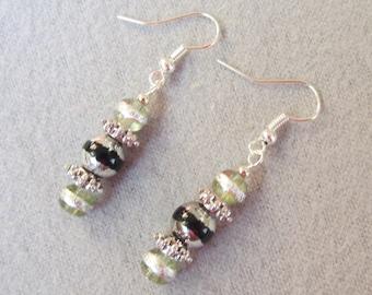 Black and Silver Metallic Glass Earrings Drop Earrings Fish Hook Handmade