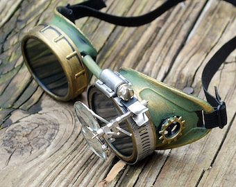 Green and Gold Steampunk Goggles with Gold Gears and Loupes Apocalypse Scientist Space Captain Motorcycle Cyber Rave