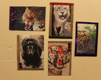 MAGNETS! Tiger Panther Lion Cheetah Ocelot Gold Purple Red Green Glitter Sequin Magnet (Set or Individual)