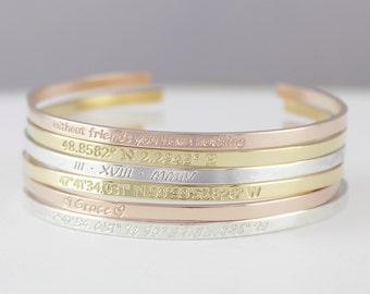 Personalized Cuff Bracelet, Inspirational Bracelet, Stacking Dainty Cuff bangle bracelet